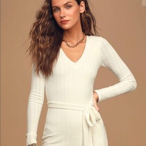Written with Love White Ribbed Long Sleeve Dress